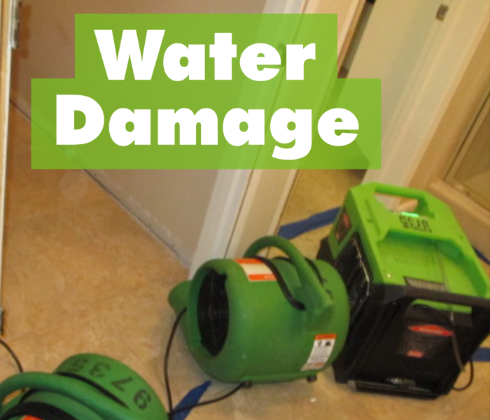Air movers in home for water damage