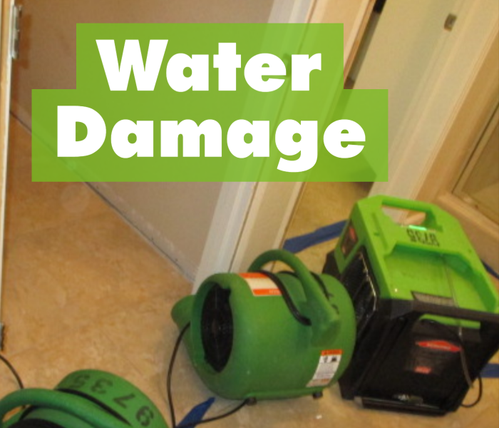 SERVPRO air movers on floor